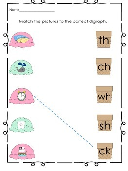 Digraph Practice Packet for Beginners- Ice Cream Shop