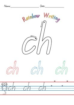Digraph Printable Worksheets featuring Rainbow Writing