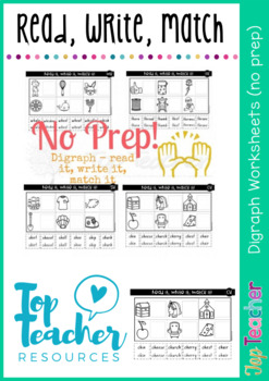 Digraph Printables - read it, write it, match it
