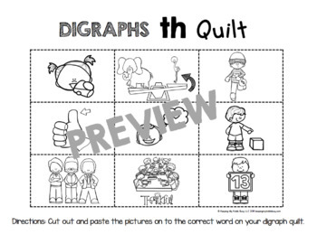 Digraph Quilts - Cut and Paste Activity Literacy Center - Consonant Digraphs