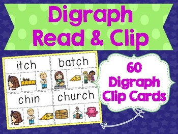 Digraph Read & Clip Cards