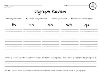 Digraph Review Word Sort