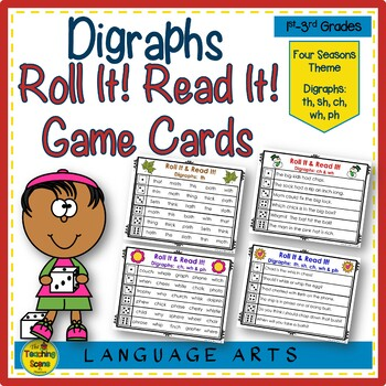 Digraph Roll It!  Read It! Game Cards