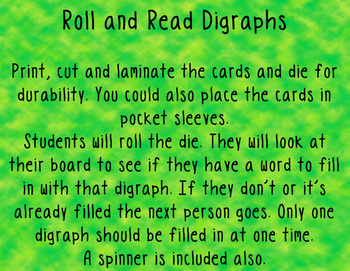 Digraph Roll and Read