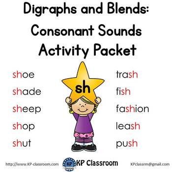 Digraph SH Consonant Sound Activity Packet and Worksheets