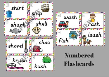 Digraph SH Flash Cards and Write the Room
