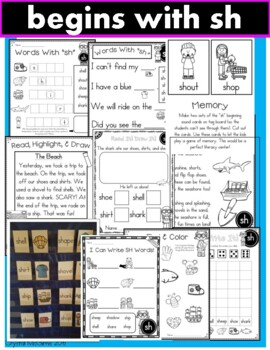 Digraph SH Phonics Practice Printables and Activities (Beginning and Ending SH)