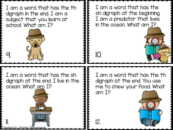 Digraph (SH and TH) Word Work Riddles