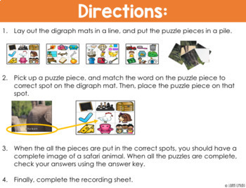 Digraph Puzzle Activity Animal Themed ch sh th wh