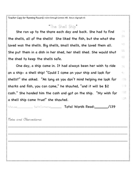 Digraph Sh Fluency Practice:: Running Record Form