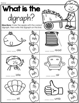 Digraph Sort - Apple Theme (Ch, Sh, Th, Wh)