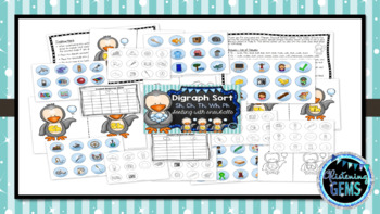 Digraph Sort - Penguin and Snowball Theme