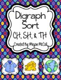 Digraph Sort: TH, CH, SH (Color & Blackline)