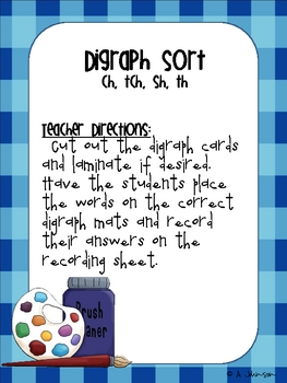 Digraph Sort {ch, sh, tch, th}