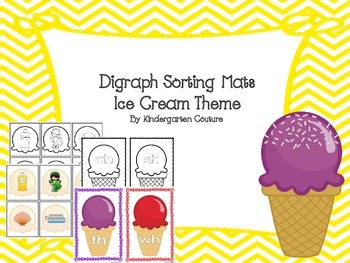 Digraph Sorting Mats -Ice Cream Theme