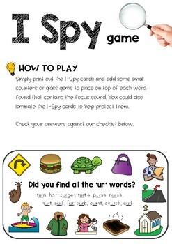 Digraph Sound Mazes + I Spy Games - Bossy 'R' Sound UR