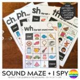 Consonant Digraph Sound Mazes + I Spy Games - CH PH SH TH WH BUNDLE