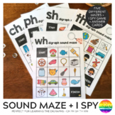 Consonant Digraph Sound Mazes + I Spy Games - CH PH SH TH WH BUNDLE