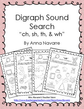 """Digraph Sound Search - """"ch, sh, th, & wh"""""""