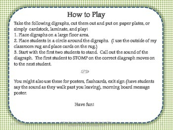 Digraph St. Patrick's Stomp Game, Poster, Teaching Aid