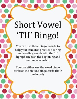 Digraph 'TH' Bingo