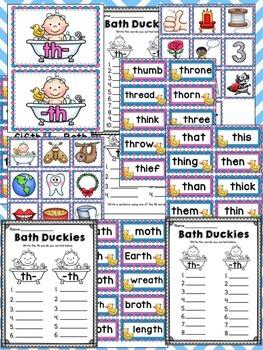 Bath Duckies TH Digraph Center Sort Game Materials