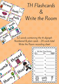 Digraph TH Flash Cards and Write the Room
