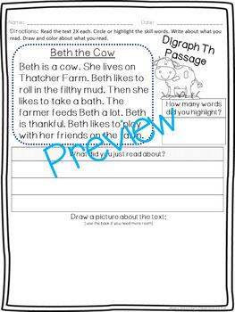 Digraph TH Pack! A Week of Lesson Plans, Word Work, and Activities!