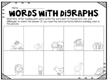 Digraph Task Card with QR Codes- BUNDLE!