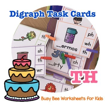 Digraph Task Cards - TH (beginning and ending)
