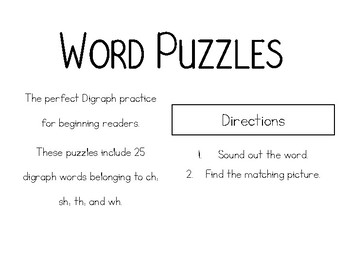 Digraph Word & Picture Puzzles
