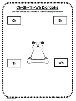 Beginning & Ending Digraphs Word Sort CH, TH, SH, WH