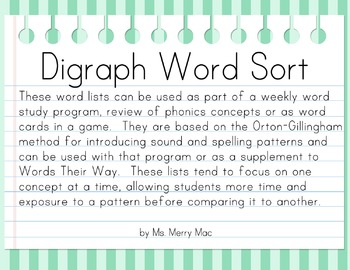 Digraph Word Sort   Orton-Gillingham Spelling List