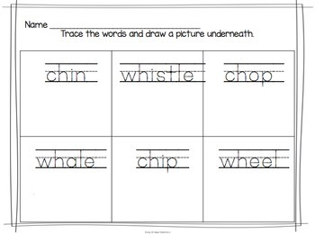 Digraph Word Work Activities for Kindergarten