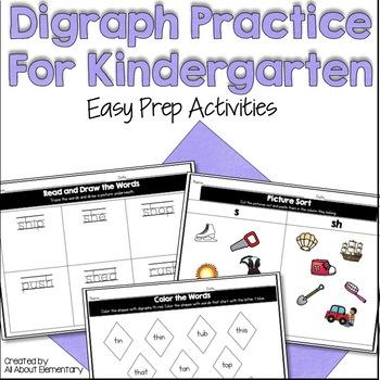 Digraph Word Work Activities for Kindergarten