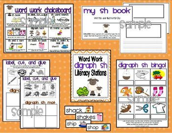 Digraph Word Work Literacy Station Bundle: ch, sh, th