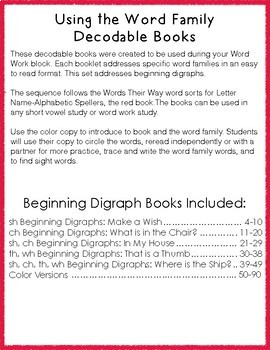 Digraph Word Work Word Study Beginning Digraph Books