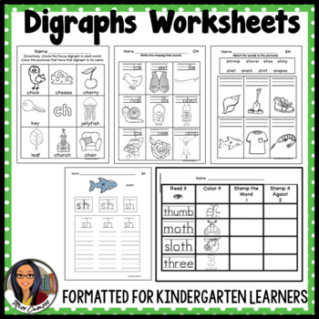 Digraph Worksheets : Sh, Ch, Th, Wh, Ph, EE, OO by Miss Campos | TpT