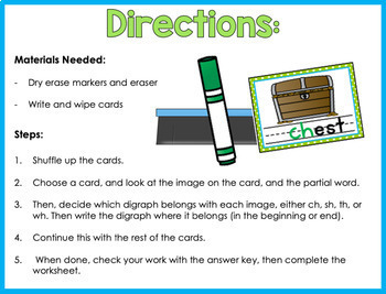 Digraph Write And Wipe Cards (Ch, Sh, Th, Wh)