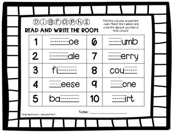 MIXED Beginning and Ending Digraph Write the Room