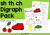 Digraph activities - Sh Th Ch - NSW school font