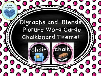 Digraph and Blends Picture Word Wall Cards: Chalkboard Theme