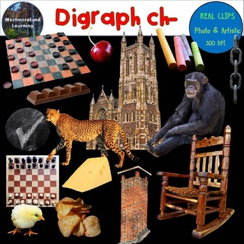 Digraph ch Clip Art Beginning Sounds Real Clips Digital Stickers 30 images