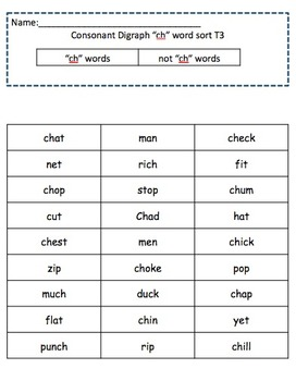 """Digraph """"ch"""" and Trigraph """"tch"""" - Differentiated for Low, Med and High Levels"""