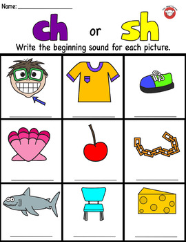 Digraph ch and sh picture worksheets