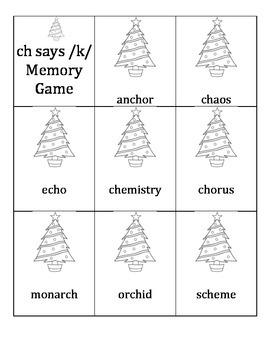 Digraph ch says /k/ Memory Game