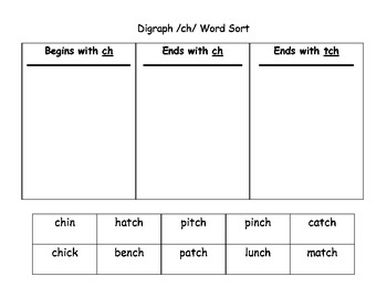 Worksheet Tch Words digraph ch tch word sort by first grade krewe tpt sort