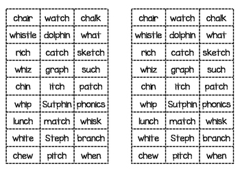 Digraph ch, tch, wh, ph Word Sort