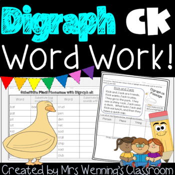 Digraph ck - A Week of Lesson Plans, Word Work, and Activities!