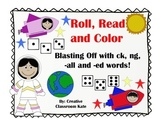 Digraph ck, ng, -all and -ed words- Roll, Read and Color